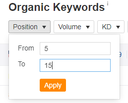 Organic Keywords position filter tab